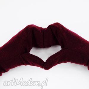 handmade rękawiczki wełniane rękawiczki mozga - bordowe