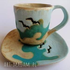 komplet a może nad morze, ceramika rękodzieło, kubek z gliny, nadmorski klimat