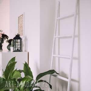 handmade wieszaki biała drabinka drewniana / drabina ozdobna skandynawski
