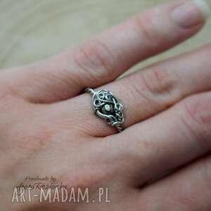 pierścionek regulowany z pirytem, wire wrapping stal chirurgiczna