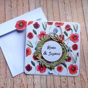 kartki czerwień maków, życzenia, urodziny, ślub, maki, bławatki, polne