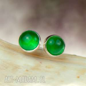 Minimalistyczne srebrne sztyfty z zielonymi agatami d081, zielone-sztyfty
