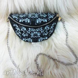 torebka nerka z haftem - nerka, haftowana, folk, łańcuszek, koronka