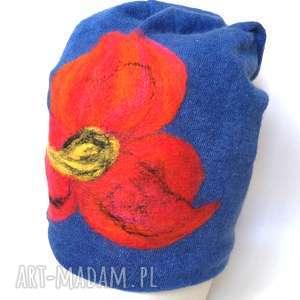 czapka wełniana damska niebieska z kwiatem - wełna, kwiaty, ciepła, zima, boho