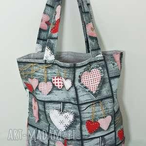torba na zakupy serca retro ekologiczna szara podszewka, torba, retro, serca