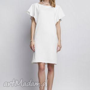 Sukienka z oryginalnymi rękawami, SUK104 ecru, falbany, sukienka, tunika, biała