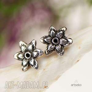 Prezent a359 Kwiatuszki - kolczyki srebrne, kolczyki-srebrne, srebrne-sztyfty