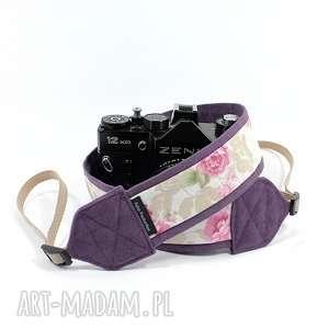 Prezent Pasek do aparatu camera strap fioletowy z różami, pasekdoaparatu, camerastrap