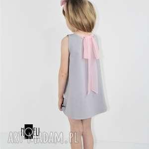 Sukienka szara z tiulowa kokarda, letnia, ramiączka, lekka