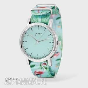 Prezent Zegarek - Simple elegance, turkus flamingi, nato, zegarek, bransoletka