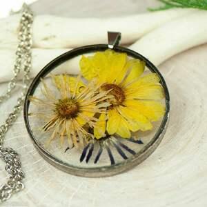 naszyjniki naszyjnik z kwiatów w cynowej ramce z431, biżuteria na lato