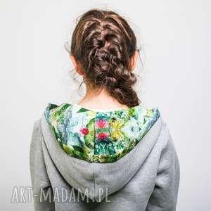 szara bluza z kapturem jungle 110-134 cm, bawełny, do szkoły
