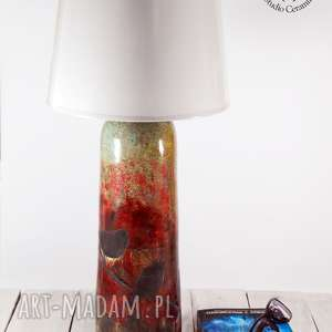 lampa ceramiczna ptaszki raku, stołowa, ceramiczna, ptaszki, podstawa