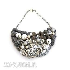 all about grey naszyjnik handmade - naszyjnik, szary, srebrny, popiel