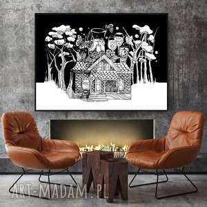 grafika art print a4, dom, plakat, szczęście, ilustracja, czarnobiały, prezenty