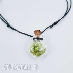 buteleczka wisior z mchem - ,mech,las,leśne,skandynawskie,wisiorek,buteleczka,