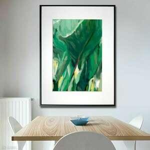 grafika w ramie cienie i liście 30x40, liście, tropikalne, nowoczesne