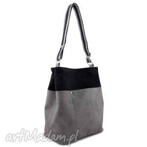 frida - torba worek czerń i szarość, elegancka, duża, pojemna, miejska