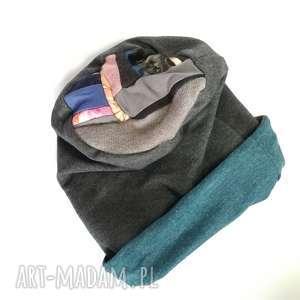 czapka dzianinowa damska szara dresowa handmade - czapka, dzianina, dresowa, smerfetka
