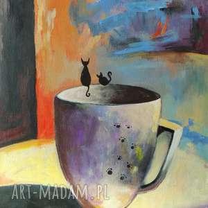 KUBEK -obraz akrylowy formatu 30/40 cm, obraz, akryl, kubek, płótno, koty