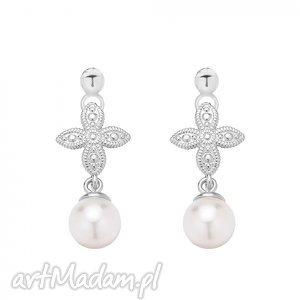 srebrne kolczyki z rozetką i białą perłą swarovski® crystal