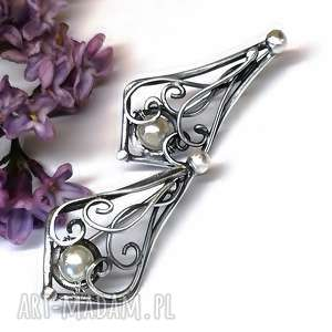 kolczyki z białymi perełkami, sztyfty, kolczyki, srebro, perła, biżuteria, hajcz