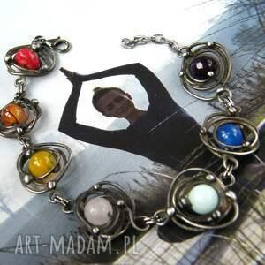 miedziana bransoletka z kamieni kolory tęczy