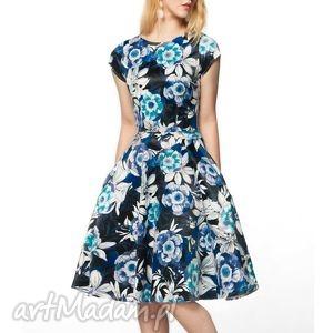 sukienka star midi abigail, midi, kwiaty, granat, czerń, wzorzysta