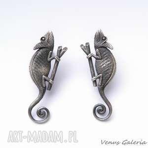 Prezent Kameleony szare - kolczyki srebrne, srebro, kolczyki, kameleony, biżutria