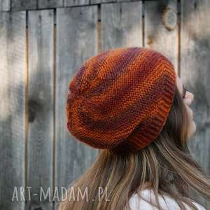 czapka wiartaczek rudo-brązowa, wełna, rękodzieło, melanż, miękka, uniwersalna
