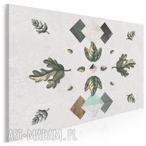 obraz na płótnie - dąb liście geometryczny 120x80 cm 42101, liście