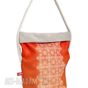 """Wór """"THE PIN"""" - Orange z bawełnianą liną, wielofunkcyjny, wygodny, stylowy, kobiecy"""
