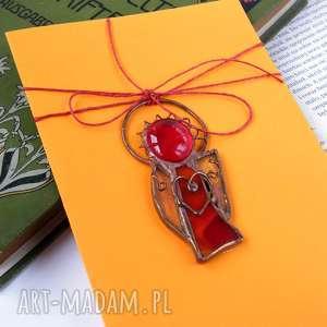 pomysł na święta upominki Kartka życzenia z czerwonym aniołkiem , aniołek