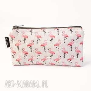 ręcznie zrobione kosmetyczki flamingi