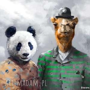 krzanooart obraz na płótnie i 100x100 cm zwierzyniec, panda, wielbłąd, dzieci