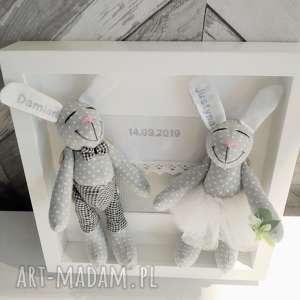 Króliki prezent ślub nowożeńcy ramka personalizacja