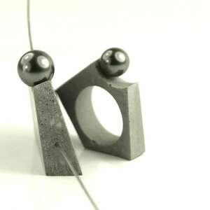 wisiorki naszyjnik betonowy w zestawie z pierścionkiem, minimalistyczny, beton