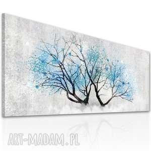 obraz drukowany na płotnie z kwitnącym drzewem, drzewo niebieskimi kwiatami format
