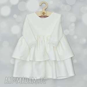 sukienka do chrztu z falbanami i szyfonowa kokarda, sukienkadochrztu