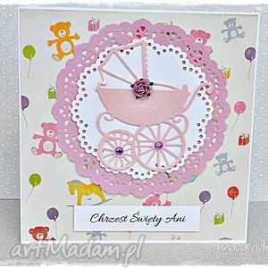Prezent Kartka na Chrzest - personalizacja, kartka, chrzest, dziewczynka, wózek