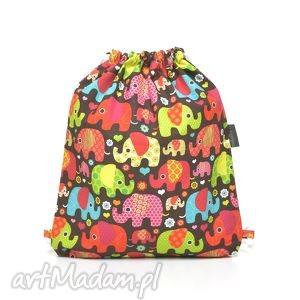 plecak worek przedszkolaka słoniki na brązie - ocieplacz