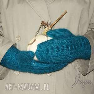 rękawiczki w kolorze turkusu - rękawiczki, drury, wełna, moher, turkusowe