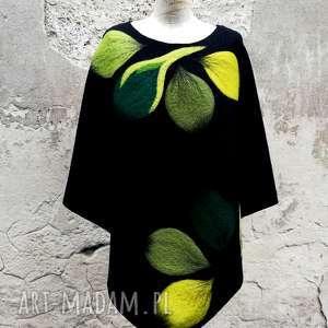 ręcznie robione poncho ponczo zielenie