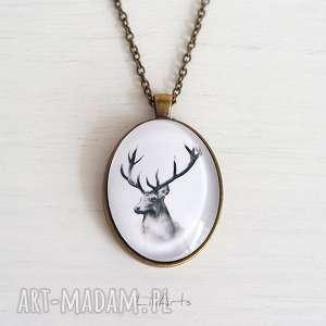 hand-made naszyjniki medalion, naszyjnik - jeleń owalny