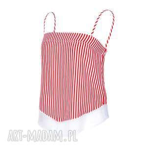 bluzki top paski /boodaa reddo, top, ramiączka, swobodna, krótka, asymetryczna
