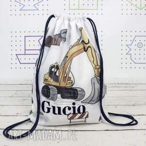 dla dziecka worek z imieniem budowa, na buty, worko plecak
