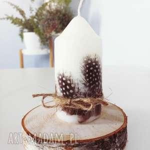 świeczka z piórami - ,świeczka,eko,pióra,piórka,skandynawska,las,