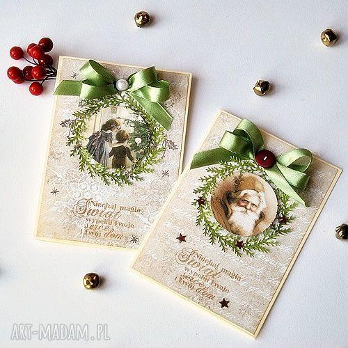 hand-made scrapbooking kartki 2 kartki świateczne