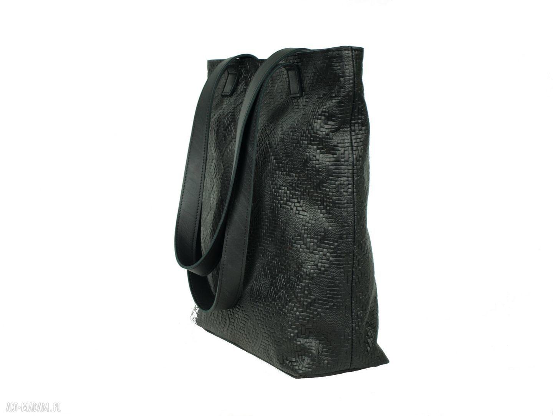 trendy torebki torba czarna wytłaczana skórzana