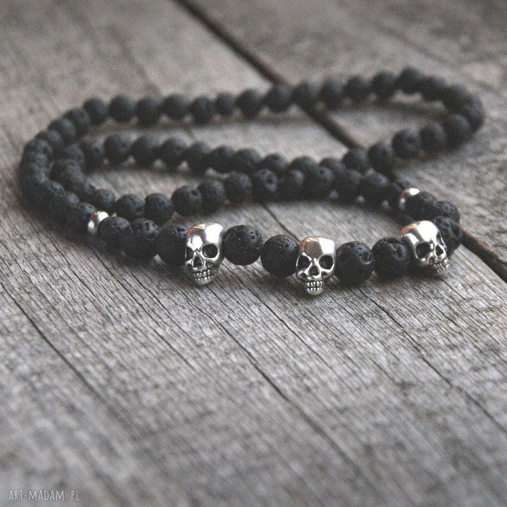 unikatowe męska czaszka naszyjnik męski :: black lava &